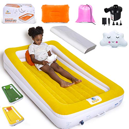 Sleepah Inflatable Toddler Travel Bed – Children Portable Air Mattress Set – Blow up Mattress for Kids W/All Around High Safety Bed Rails. Indoor Outdoor! W/Pump, Sheet, Case, Pillow & Toy - Amber