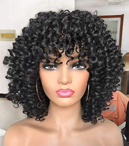 ANNIVIA Curly Afro Wig with Bangs Short Kinky Curly Wigs for Black Women Synthetic Heat Resist Soft Hair Short Curly Afro Black Wig (1B)…