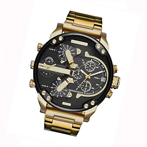 HANDAN Reloj de Pulsera para Hombres Reloj de Pulsera de Cuarzo analógico Deportivo de Negocios de Cuero de Acero Inoxidable de Lujo y de Moda Reloj con dial Grande en Todos los Modelos Frugal