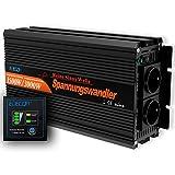 EDECOA Inversor 12v 220v Onda Pura Convertidor de Corriente 1500w 2x USB Mando a...