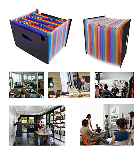 24 Pockets Expanding File Folder Multicolored A4 Size Expandable File Organizer Accordion Stand File Folder Wallet Briefcase Receipt Organizer No Cover (Multicolored,24 Pockets) Photo #4