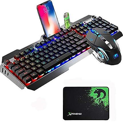 Urchoiceltd Juego De Teclado y Mouse Tecnología M398 Retroiluminación De Teclado Con Cable Keyboard Metal Waterproof + Cable 2000 DPI 6 Botones Ratón Optical Backlight Game Con USB Mouse + Mouse Pad