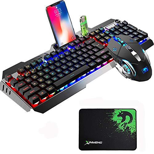 Urchoiceltd Juego De Teclado y Mouse Tecnología M398 Retroiluminación De Teclado Con Cable Keyboard Metal Waterproof + Cable 2000 DPI 6 Botones Ratón Optical Backlight Game Con USB Mouse + Mouse Pad