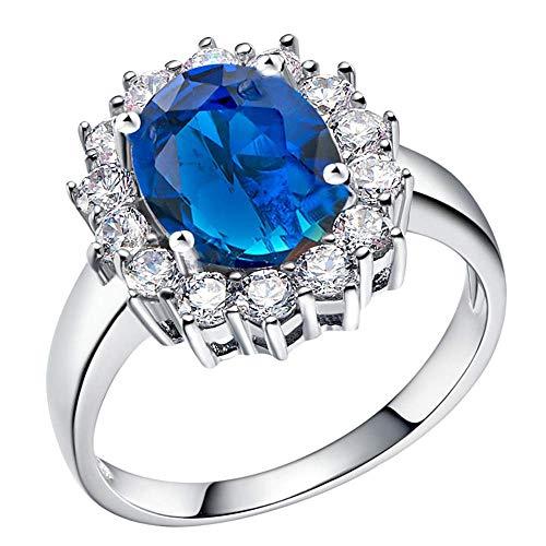 Purmy Damen Ring Weiß Vergoldet Hochzeitsband mit Tiefes Blau Cubic Zirconia Brunnen Form Design Modell Eleganter Stil Größe 57 (18.1)