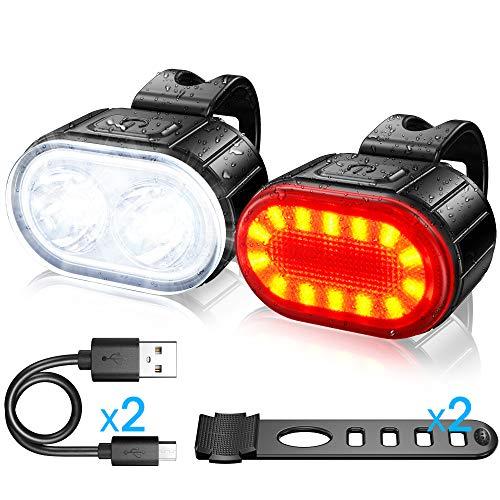 Luci Bicicletta Kit , Luce Anteriore e Posteriore per Bicicletta LED, Luce per Bicicletta Ricaricabile USB, Disponibile per Uomini Donne, Bambini, Combinazione di Luci per Mountain Bike Impermeabili