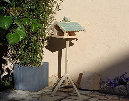 Vogelhaus,groß,mit Nistkasten,BEL-X-VONI5-türkis002 Großes wetterfestes PREMIUM Vogelhaus VOGELFUTTERHAUS + Nistkasten 100% KOMBI MIT NISTHILFE für Vögel WETTERFEST, QUALITÄTS-SCHREINERARBEIT-aus 100% Vollholz, Holz Futterhaus für Vögel, MIT FUTTERSCHACHT Futtervorrat, Vogelfutter-Station Farbe türkis ANTIKBLAU meeresblau blau-grün / natur, MIT TIEFEM WETTERSCHUTZ-DACH für trockenes Futter - 3