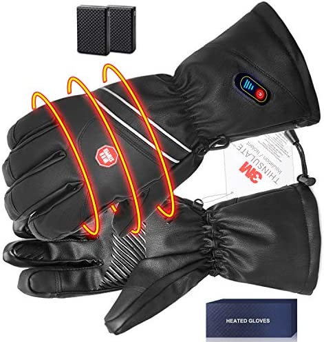 BIAL Heated Gloves for Men Leather Electric Rechargeable Battery Powered Touch Screen Ski Gloves product image