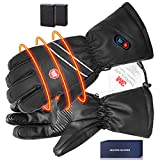 BIAL Heated Gloves for Men Leather Electric Rechargeable Battery Powered Touch Screen Ski Gloves Hand Warmer for Men Winter Cold Weather Motorcycle,Hunting,Riding