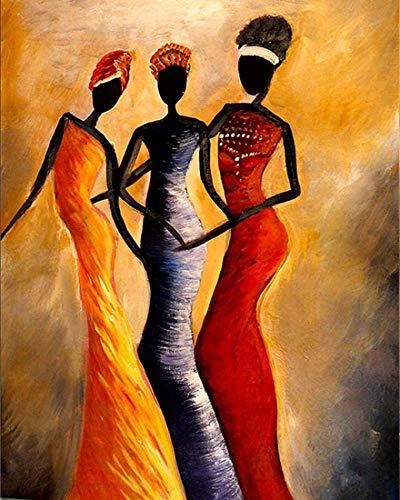 Pintura por números para adultos Niños principiantes, tres mujeres africanas que usan Hijab DIY Regalo de pintura al óleo Lienzo de lino preimpreso Regalos pintados a mano Arte de la pared