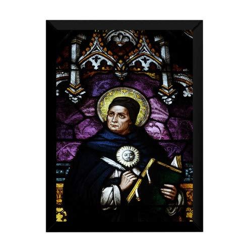 Quadro Arte Vitral São Tomas De Aquino 42x29cm