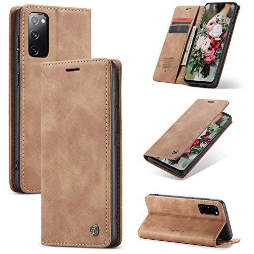 FMPC Handyhülle für Samsung Galaxy S20 FE 5G Premium Lederhülle PU Flip Magnet Hülle Wallet Klapphülle Silikon Bumper Schutzhülle für Samsung Galaxy S20 Fan Edition 5G Handytasche - Braun