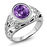 Gem Stone King 925 Sterling Silver Oval Amethyst Men's Ring 4.60 Ct (Size 8)
