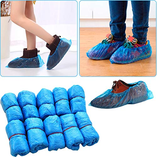 Spatter - 100pcs Plastic Disposable Shoe Covers Medical Waterproof Boot Blue Color Overshoes Mud Proof Rain - Look Pack Luggage Kids Travel Through Easy Real Bulk Step Snow Construction M