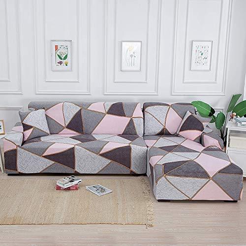 Fundas de sofá elásticas en Forma de L para Sala de Estar Necesita Comprar 2 Piezas de Funda de sofá para Muebles seccionales Funda de sofá elástica A21 de 3 plazas