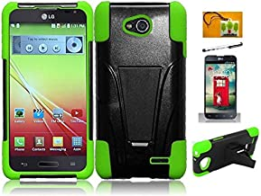 LF 4 in 1 Boundle Accessory - Green Black Hybridy Dual Layer Case with Stand, Stylus, Screen Protector & Wiper for (T-Mobil, MetroPCS) LG Optimus L90 (Stand Black / Green)