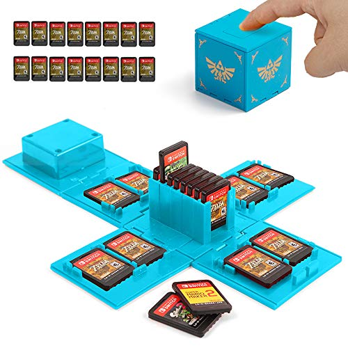 Nintendo Switch Game Card Case, Game Card Holder for Nintendo Switch Games with 16 Card Slots (Zelda Blue)