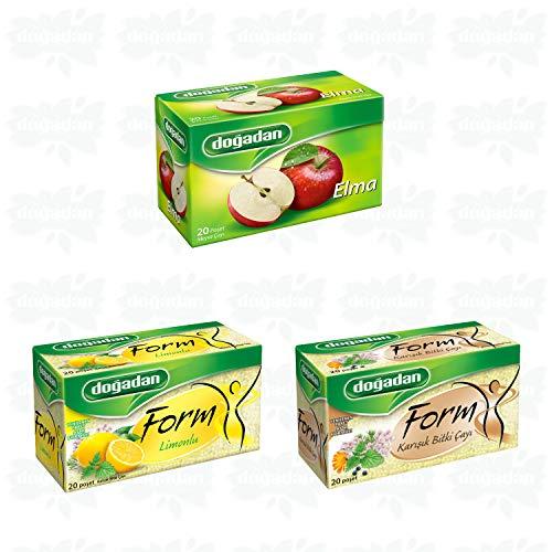 Dogadan Tea - Apple Tea (1 Box / 20 Tea Bags) - Form Mixed Herbal Tea (1 Box / 20 Tea Bags) - Form Mixed Herbal Tea with Lemon (1 Box / 20 Tea Bags) - 3 Boxes 60 Bags