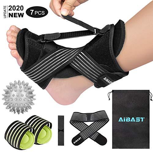 2020 New Upgraded Black Night Splint for Plantar Fascitis, AiBast Adjustable Ankle Brace Foot Drop Orthotic Brace for Plantar Fasciitis, Arch Foot Pain, Achilles Tendonitis Support for Women, Men