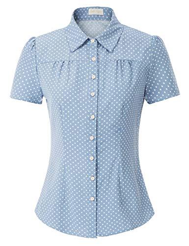 Belle Poque GF574 - Blusa para mujer, estilo vintage y retro, manga corta con círculos, retales Bleu Clair (574-4) XXL