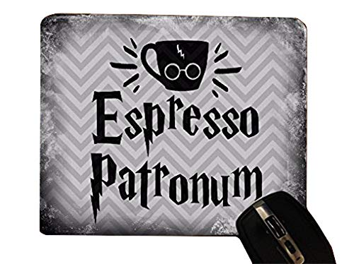 Espresso Patronum Quote Old Style Chevron Pattern Desktop Office Silicone Mouse Pad by Trendy Accessories