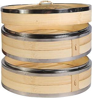 Hemoton Vaporera de Bambú con Bandas de Acero Inoxidable Vaporera China de 18 Cm con Tapa Bollos Utensilios de Cocina para La Cocina Del Hogar (2 Niveles)