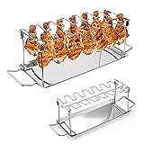 Akemaio Chicken Leg Wing Rack, Premium Hähnchen-Halter (BBQ-Rack), Edelstahl Chicken Wing Leg Rack mit Auffangwanne Barbecue Chicken Drumsticks Rack für Camping Picknick
