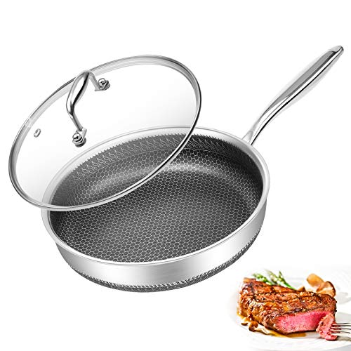 Frying Pan Nonstick Metal Utensil Safe Skillet with Lid 10 Inch Frying Pan with Lid Healthy Pfoa-Free Dishwasher Safe Suitable for All Cooktops