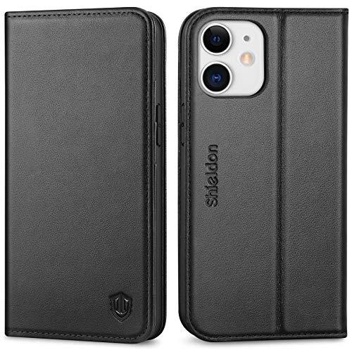 SHIELDON Hülle für iPhone 12 Mini Handyhülle [Erstklassiges Rindsleder] [Schützt vor Stoß] [3 Kartenfächer] [Magnetverschluss] [Stand], RFID TPU Schutzhülle Lederhülle für IPhone 12 Mini (5,4) Schwarz