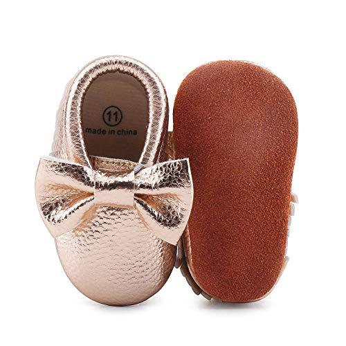 DELEBAO Weiche Baby Kleinkind Lederschuhe Babyschuhe Krabbelschuhe Leder Baby Schuhe Lauflernschuhe Lederpuschen Gold 0-6 Monate