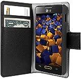 mumbi Tasche Bookstyle Case kompatibel mit LG Optimus L4 II Hülle Handytasche Case Wallet, schwarz