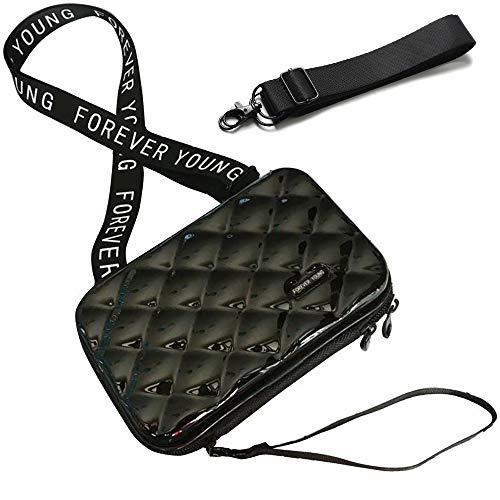 Handy Umhängetasche - Mode Damen Schultertasche Klein Geldbörse Crossbody Handtasche - Hart ABS+pc Kofferform mit Verstellbar Abnehmbar Schultergurt für Handy unter 7.5 Zoll (Rhombus Schwarz)