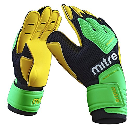 Mitre Delta BRZ Torwarthandschuhe, Yellow/Green/Black, Size 11