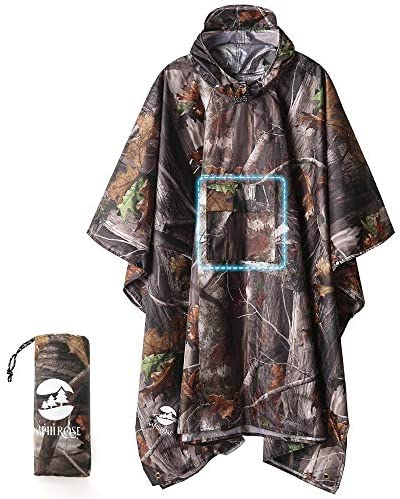 Hooded Rain Poncho Waterproof Raincoat Jacket for Men Women Adults A Forest Camouflage 3 in1 product image