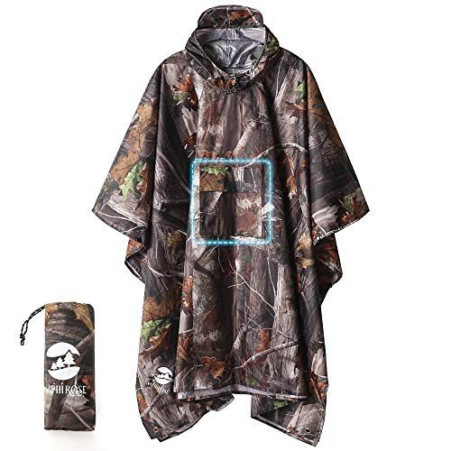 Hooded Rain Poncho Waterproof Raincoat Jacket for Men Women Adults (A-Forest Camouflage (3 in1))