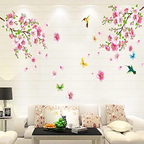 Mambain Adesivi Muro Fiori di Pesco Adesivi Murali Flowers Salotto Camera da Letto DIY Rimovibile Impermeabile Autoadesivo Arte Decorazioni per Pareti(Rosa,60cm*90cm)