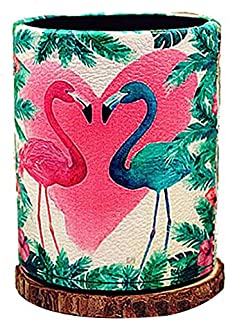 Love Flamingo Antique Route PU leather Pencil Pen Holder Desk Organizer