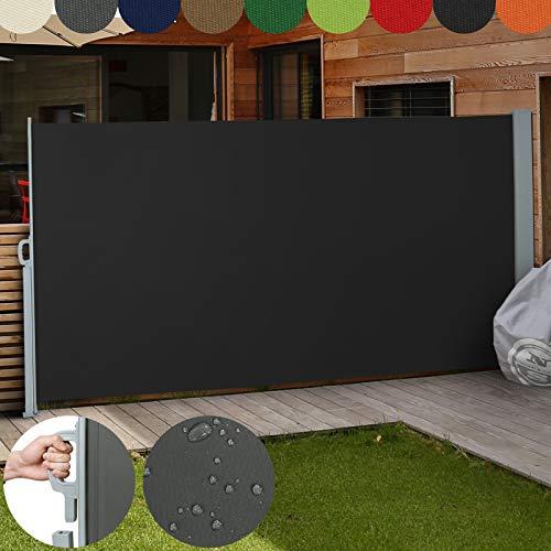 Jago pagina luifel kleur naar keuze/grootte keuze (160x300cm, 180x300cm, 200x300cm), voor balkon terras tuin zonwering windscherm, (Zwart / 180x300cm)