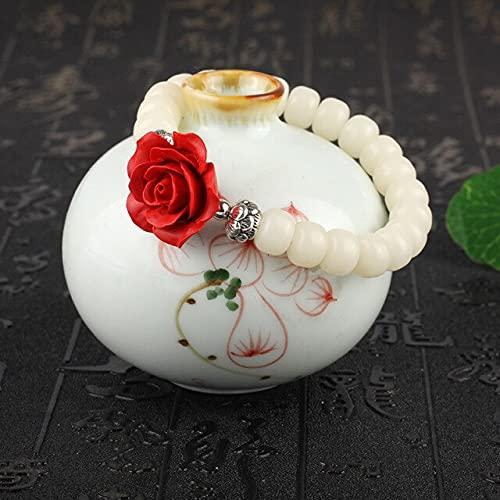 YYSD Zen Blanco Bodhi con Cuentas con cinabrio Tallado Rosas Natural Lobular Rosewood Tallado Lotus Pulsera para Mujeres Buda Regalo joyería