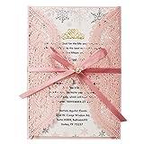 Tarjetas de invitaciones de boda con diseño de flora cortadas con láser rosa con sobres para bodas, despedidas de soltera, compromiso, cumpleaños, baby shower, invitaciones, 20 unidades