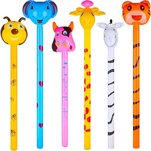 6 Stücke Aufblasbare Jungle Tiere Stock Aufblasbare Party Dekorationen Aufblasbare Tiger Zebra Giraffe Elefant Biene Kuh Hämmer Zoo Party Requisiten für Geburtstag Party Geschenke