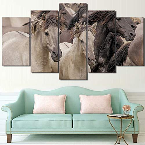 Aicedu kunstdrukken op canvas, bedrukt, fotobehang, muurfoto, 5 panelen, wilde dieren Horses Modern, Canvas Living Room Framework HD Interior L-30x40 30x60 30x80cm Frame
