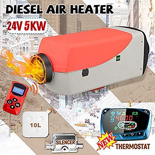 KQCYJRQ Auto Luft Diesel Standheizung 5KW 12V/24V Air Diesels Heater Con Monitor LCD de Control remoto para vehículos recreativos, remolques para autocaravanas, camiones, barcos,24V