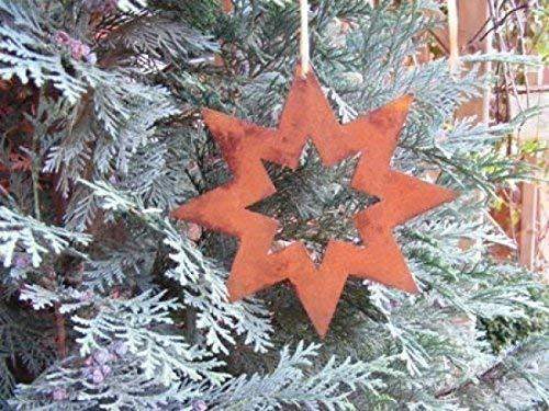 Rostikal | Edelrost Stern offen, zum Hängen | Metallstern für Ihre Weihnachtsdeko | 15 cm