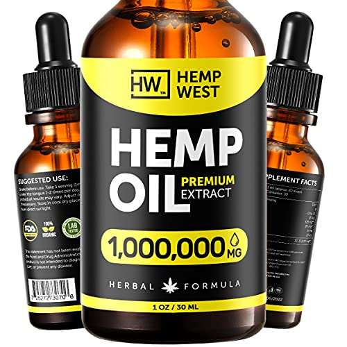 Hеmp Oil for Skin, Hair, Nails Health - Pure Extract Natural Oil Formula - Omega 3, 6, 9 Oil - Immunе System Optimizer - Physical Discomfort and Nеrvousness Rеlief - Suitable for Men and Women