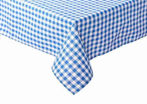Maison de Campagne de table à carreaux en couleur et taille au choix 100% coton, Coton, blau-weiß kariert, 130x220 cm eckig