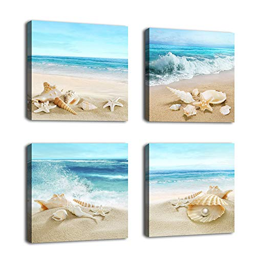 """Canvas Wall Art Seashell Starfish on Beach Picture Blue Canvas Artwork Turquoise Contemporary Wall Art Prints for Bathroom Bedroom Living Room Decoration Office Wall Decor 12"""" x 12"""" x 4 Pieces"""