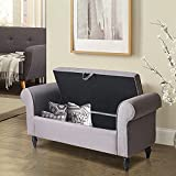 Alunaune Upholstered Storage Bed Bench Ottoman Armed Modern Fabric Bedroom Settee Entryway Bench for Living Room-Grey