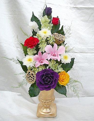 お仏壇お供え ゴールド花器に桃色のデンファレとバラの調和が美しいアレンジ プリザーブドフラワー