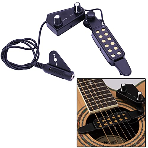 JOINSI Magnetic Soundhole Acoustic Guitar Pickup - Volume Tone Tuner Kit with Picks & 10ft Cable