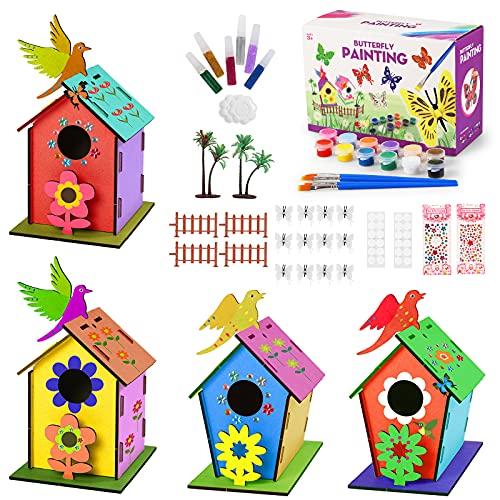 colmanda Casa pájaros Pintar, 4 Piezas Casa de pájaros de Bricolaje, Kit de Casa para Pájaros para Niños Casa de Pájaros Madera, Casa de pájaros para Pintar de Bricolaje Creativo Regalo para Niños